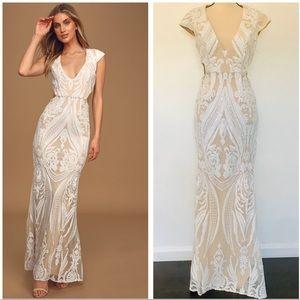 NWOT Lulu's Always Adored White Sequin Maxi Dress